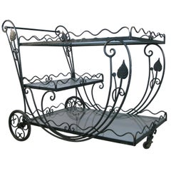 Vintage 1950s Wrought Iron Scroll Bar Cart