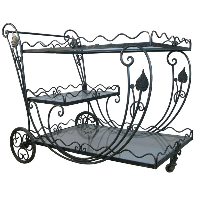 Vintage 1950s Wrought Iron Scroll Bar Cart For Sale