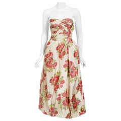 Vintage 1950's Yaga Plotast Couture Red-Roses Print Silk Sculpted Strapless Gown