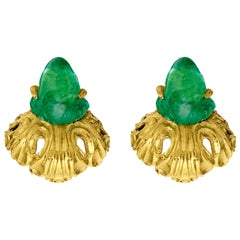 Vintage 1950s Yellow Gold and Carved Emerald Buccellati Clip-On Earrings