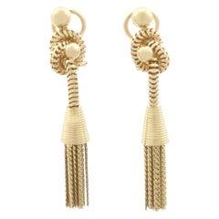 Vintage 1950s Yellow Gold Tassel Drop Earrings