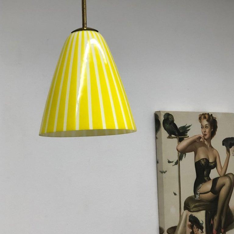 Vintage 1950s Yellow White Striped Gl Stilnovo Style Pendant Light