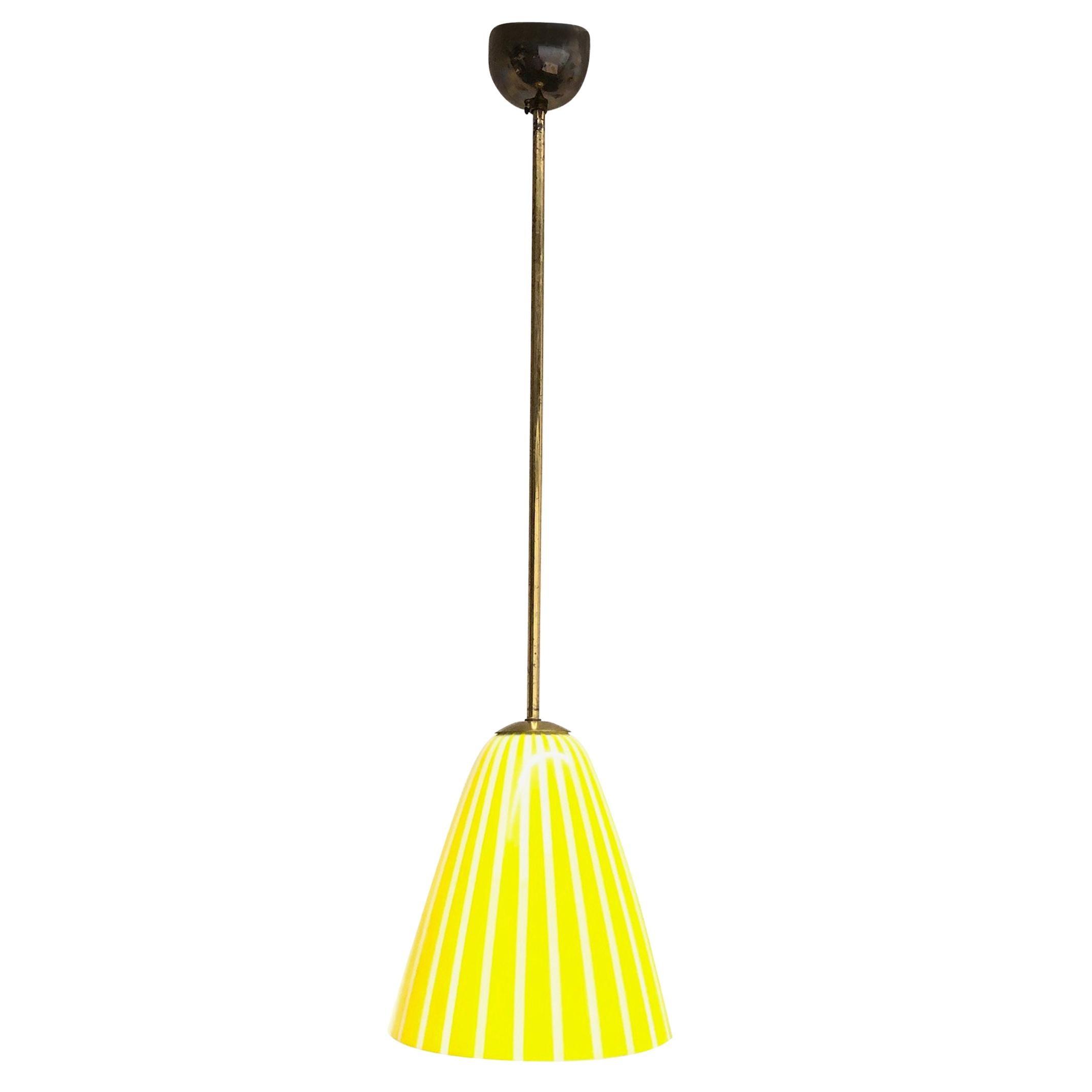 Vintage 1950s Yellow White striped Glass Stilnovo Style Pendant Light