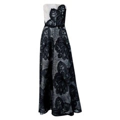 Vintage 1951 Hattie Carnegie Black White Lace Illusion Asymmetric Strapless Gown