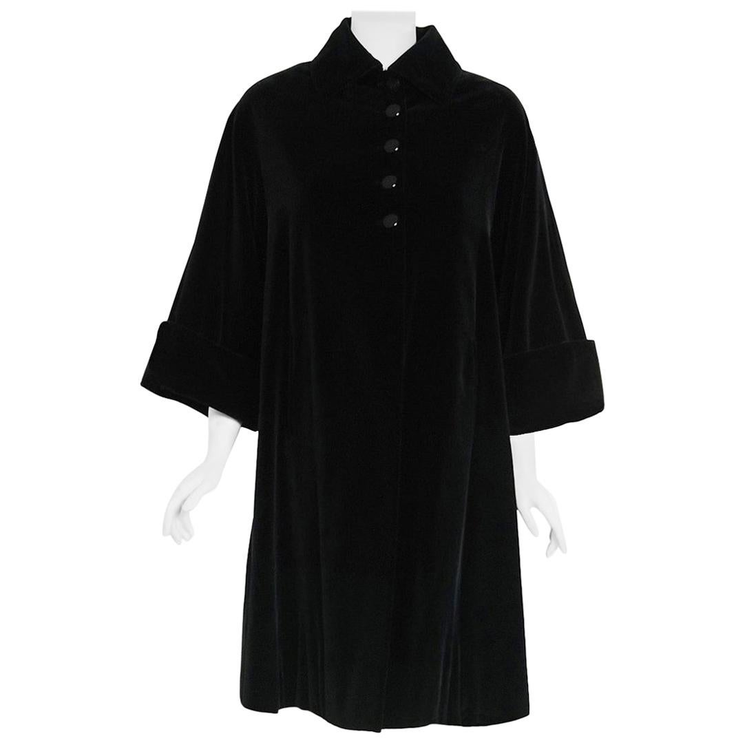 Vintage 1951 Pierre Balmain Haute Couture Black Velvet Wide-Cuff Swing Coat