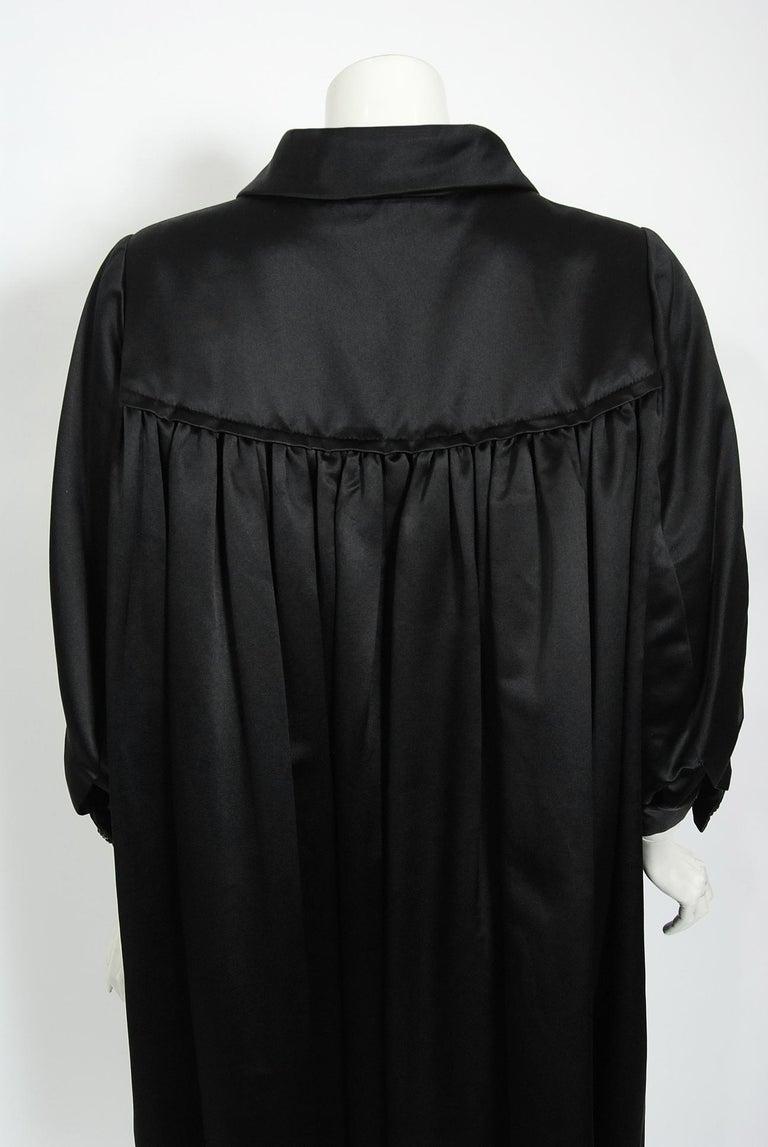 Vintage 1951 Traina-Norell Black Duchess Satin Voluminous Pleated Swing Coat For Sale 8