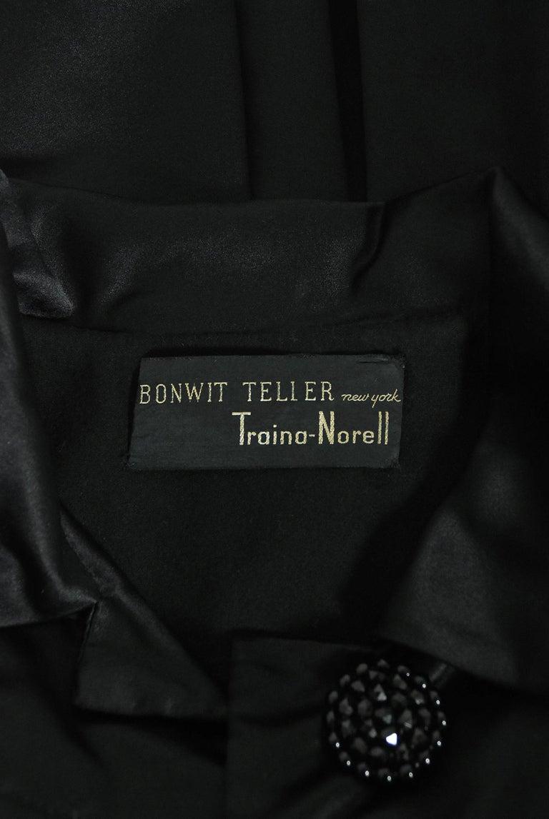 Vintage 1951 Traina-Norell Black Duchess Satin Voluminous Pleated Swing Coat For Sale 9