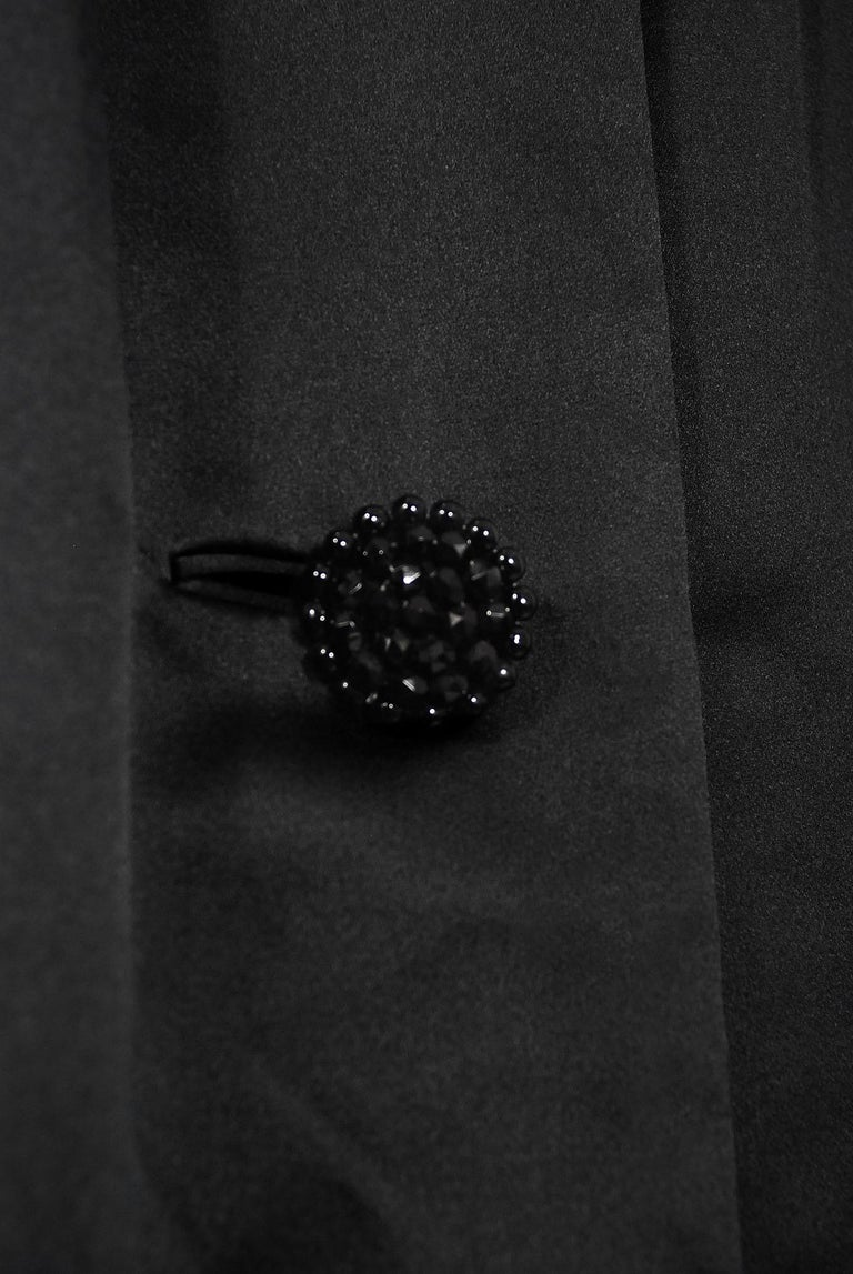 Vintage 1951 Traina-Norell Black Duchess Satin Voluminous Pleated Swing Coat For Sale 4