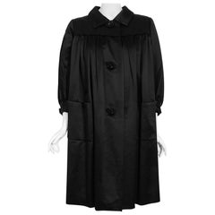 Vintage 1951 Traina-Norell Black Duchess Satin Voluminous Pleated Swing Coat