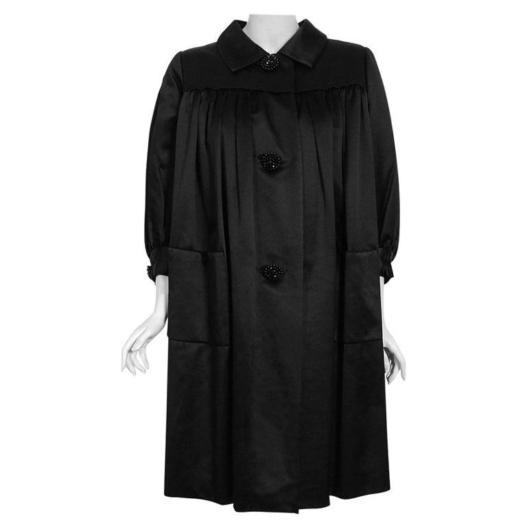 Vintage 1951 Traina-Norell Black Duchess Satin Voluminous Pleated Swing Coat For Sale