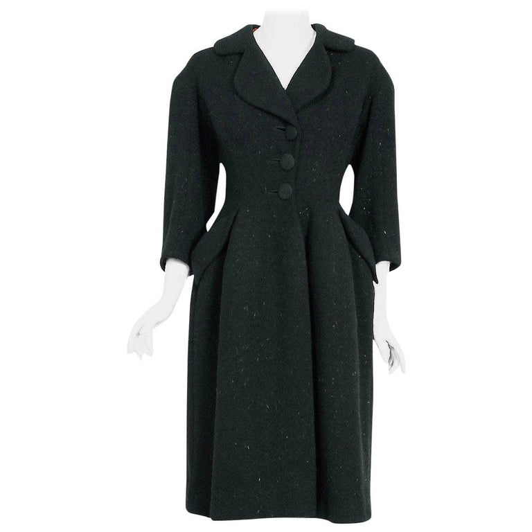 Vintage 1952 Charles James Couture Documented Museum-Held Black Princess Coat For Sale