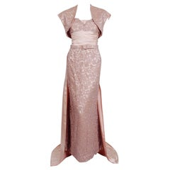 Vintage 1952 Pierre Balmain Couture Pale-Pink Silk Lace Strapless Trained Gown