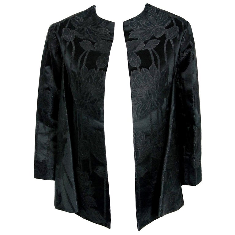 Vintage 1953 Christian Dior Haute-Couture Floral Silk Brocade Winged Jacket For Sale