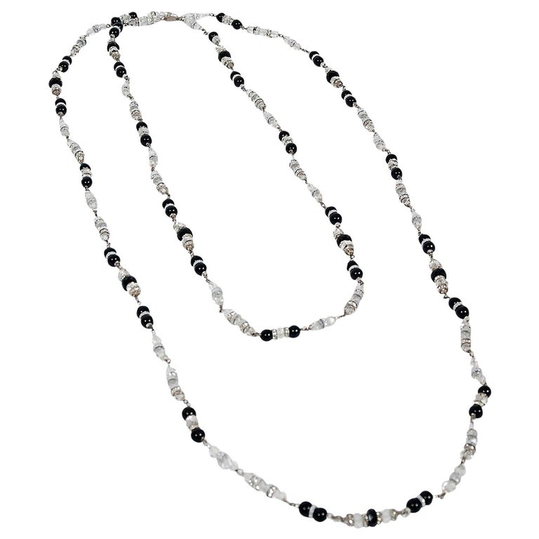 Vintage 1954 Chanel by Robert Goossens Crystal Long Sautoir Couture Necklace For Sale