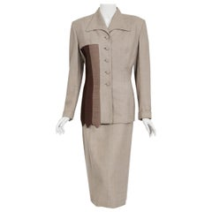 Vintage 1954 Lilli-Ann Dove Gray Sharkskin Pintuck Stripes Jacket Hourglass Suit