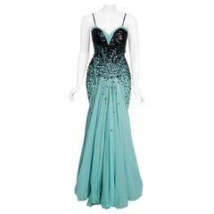 Vintage 1954 Marie Latz Haute-Couture Blue Silk Gown & Jacket Worn by Yma Sumac