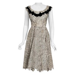Vintage 1955 Elizabeth Arden Couture Ivory Lace & Black Velvet Scalloped Dress