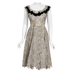 Vintage 1955 Elizabeth Arden Couture Ivory Lace & Black Velvet Scalloped Dress