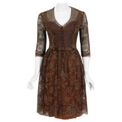 Vintage 1955 Maggy Rouff Haute-Couture Brown Sheer Illusion Chantilly Lace Dress