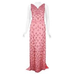 Vintage 1955 Pedro Rodriguez Couture Pink Beaded Silk Hourglass Trained Gown