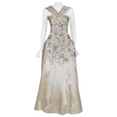 Vintage 1955 Pierre Balmain Couture Attribute Ivory Beaded Embroidered Silk Gown