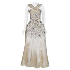 Vintage 1955 Pierre Balmain Couture Ivory Beaded Embroidered Silk Bridal Gown