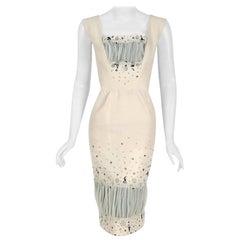 Vintage 1955 Sorelle Fontana Couture Beaded Ivory Silk Tulle Shelf-Bust Dress