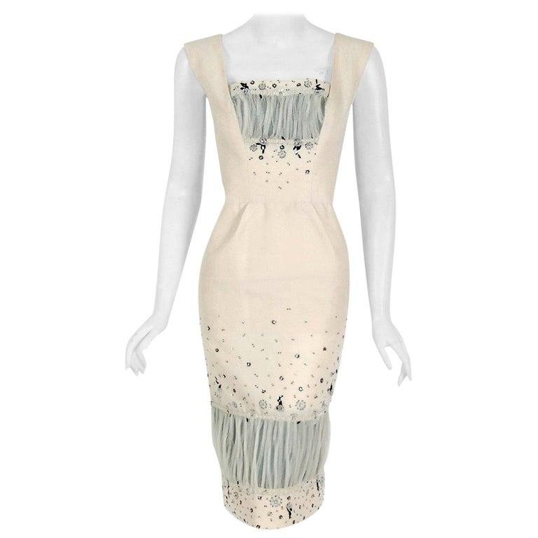 Vintage 1955 Sorelle Fontana Couture Beaded Ivory Silk Tulle Shelf-Bust Dress  For Sale