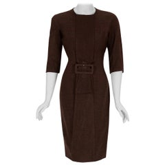 Vintage 1955 Sorelle Fontana Couture Brown Wool Sculpted Buckle Wiggle Dress