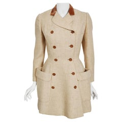 Vintage 1955 Traina-Norell Beige Wool Tweed Double Breasted Fitted Blazer Jacket
