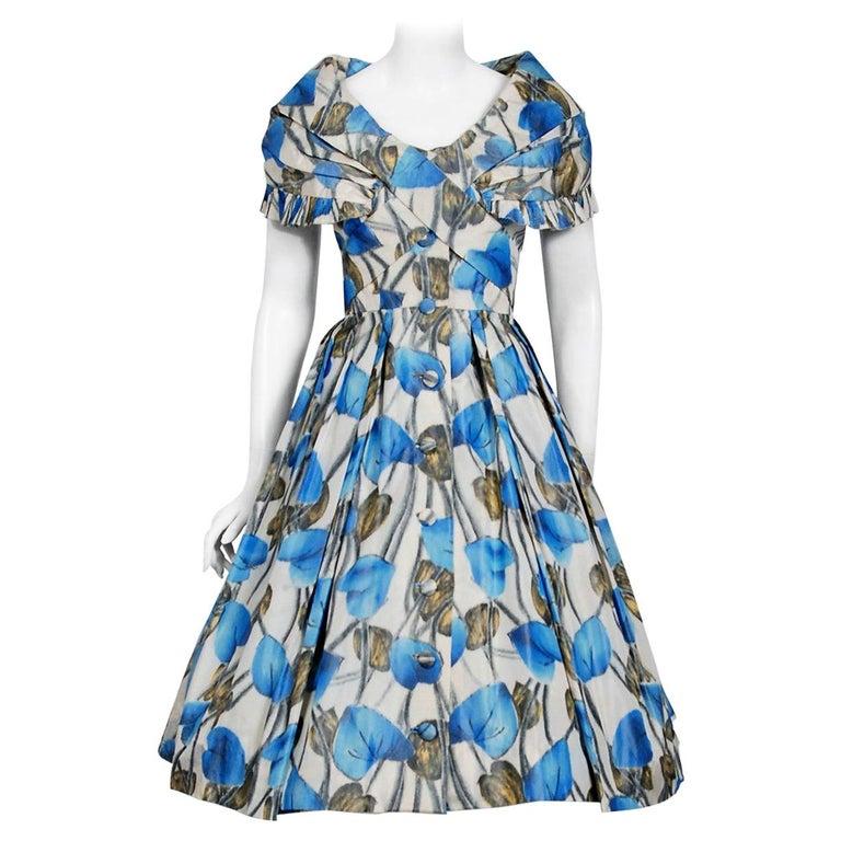 Vintage 1956 Christian Dior Couture Blue Floral Silk Portrait Collar Full Dress For Sale