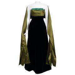 Vintage 1957 Pierre Balmain Haute-Couture Black Velvet Olive Silk Strapless Gown