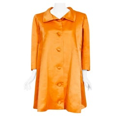 Vintage 1958 Balenciaga Haute Couture Orange Duchess Satin Swing Coat Jacket