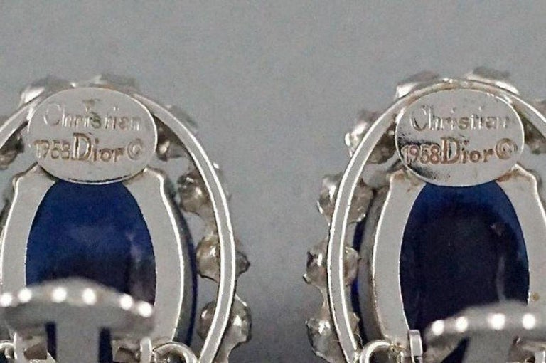 Vintage 1958 CHRISTIAN DIOR Sapphire Rhinestone Earrings For Sale 6