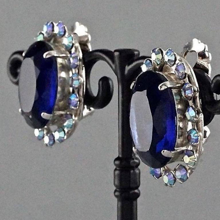Women's Vintage 1958 CHRISTIAN DIOR Sapphire Rhinestone Earrings For Sale