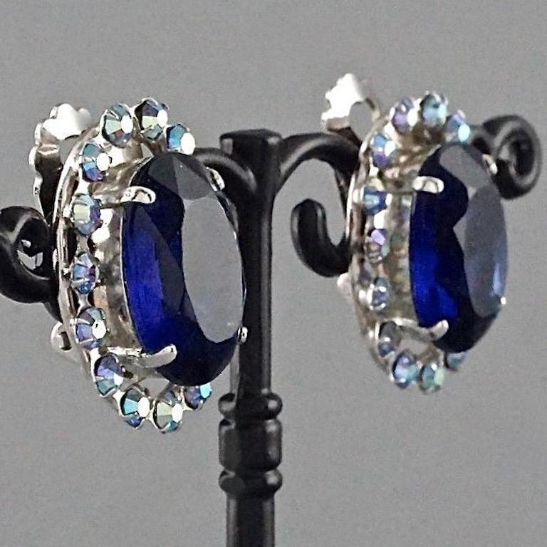 Vintage 1958 CHRISTIAN DIOR Sapphire Rhinestone Earrings For Sale 1