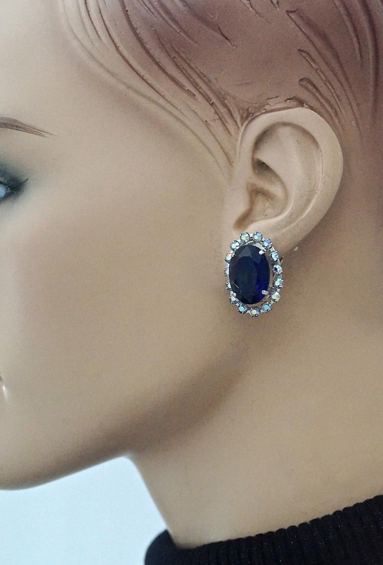 Vintage 1958 CHRISTIAN DIOR Sapphire Rhinestone Earrings For Sale 3