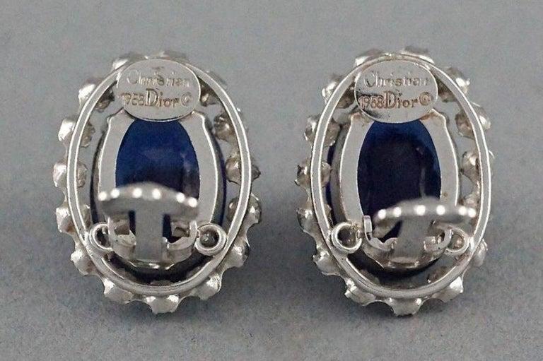 Vintage 1958 CHRISTIAN DIOR Sapphire Rhinestone Earrings For Sale 5