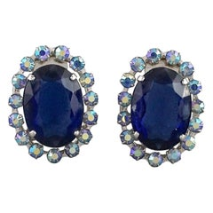 Vintage 1958 CHRISTIAN DIOR Sapphire Rhinestone Earrings