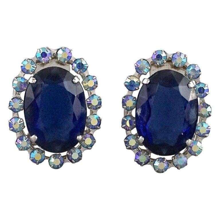 Vintage 1958 CHRISTIAN DIOR Sapphire Rhinestone Earrings For Sale