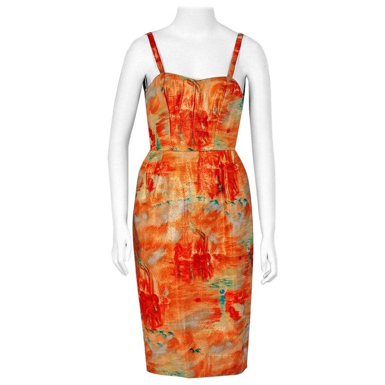 Vintage 1958 Jean Desses Haute-Couture Metallic Lame Abstract Print Dress & Coat For Sale