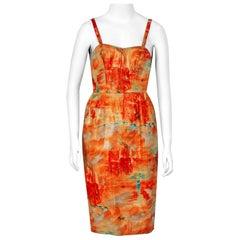 Vintage 1958 Jean Desses Haute-Couture Metallic Lame Abstract Print Dress & Coat