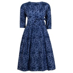 Vintage 1958 YSL for Christian Dior Demi-Couture Blue Floral Silk Full Dress