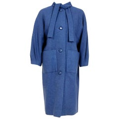 Vintage 1958 Yves Saint Laurent for Christian Dior Couture Documented Blue Coat