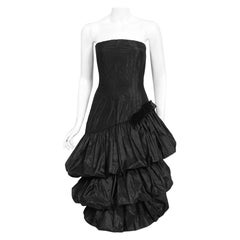 Vintage 1959 Bruxelles Couture Black Taffeta Tiered-Puff Strapless Dress