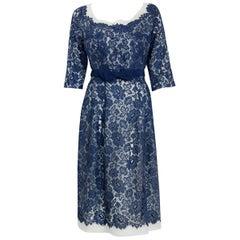 Vintage 1959 Pierre Balmain Paris Navy Lace Illusion Strapless Dress & Jacket