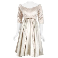 Vintage 1959 Yves Saint Laurent for Christian Dior Haute-Couture Satin Dress