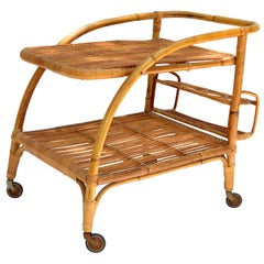 Vintage 1960 2 Tiers French Bamboo and Rattan Bar Cart