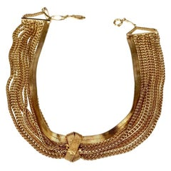 Vintage 1960 CHRISTIAN DIOR Knotted Multi Chain Choker Necklace