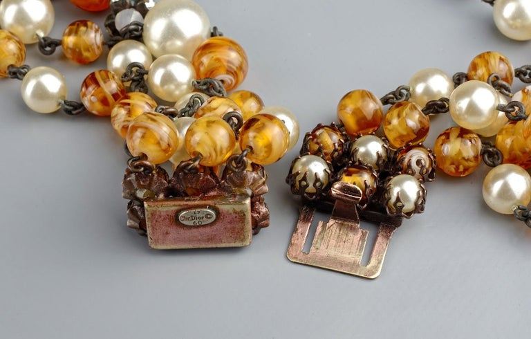 Vintage 1960 CHRISTIAN DIOR Triple Strand Amber Glass and Pearl Necklace For Sale 6